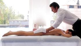 Horny man is sexy massaging her fine flesh