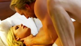 Hot blonde moaning while her vagina is poked deep