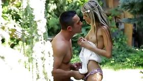 Mouthwatering sluttish gf is rubbed by a dude
