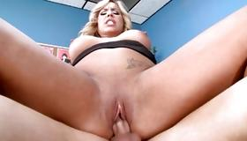 Blonde curly whore sucking the heavy dick