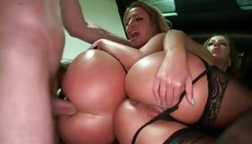 Dirty bitches are drilled with huge schlong